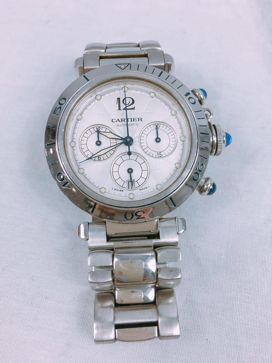 S88 1円~ Cartier カルティエ パシャ クロノグラフ メンズ 自動巻 腕時計 ホワイト文字盤 可動品