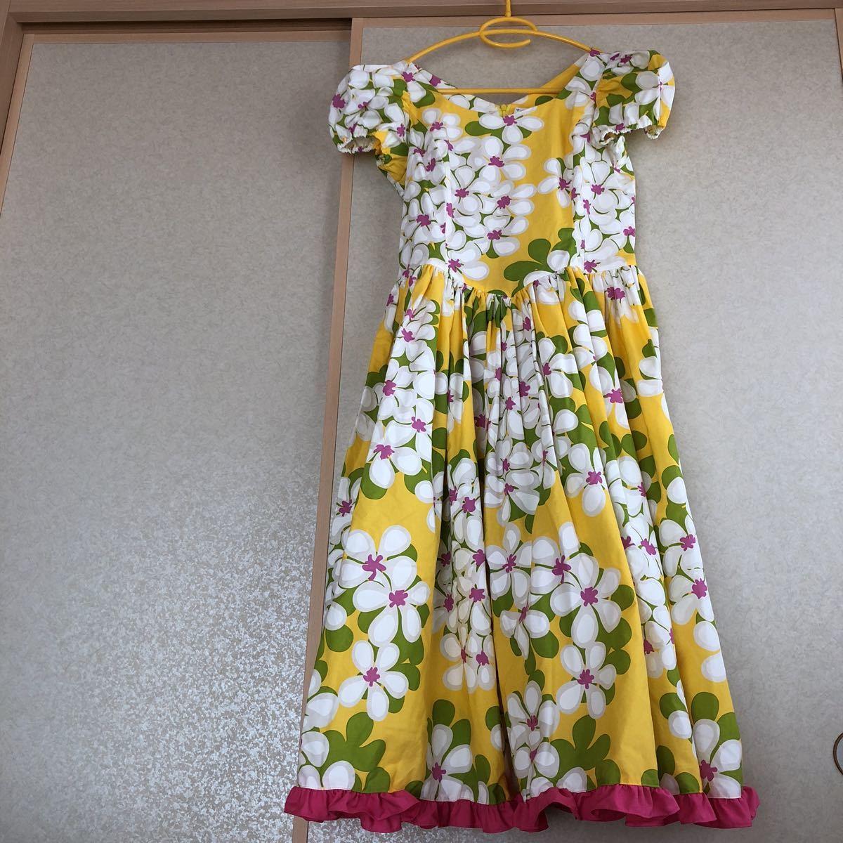 メネフネプランテーション フラダンス フラ ハワイアン ワンピース ドレス 黄色 プルメリア アロハ_画像1
