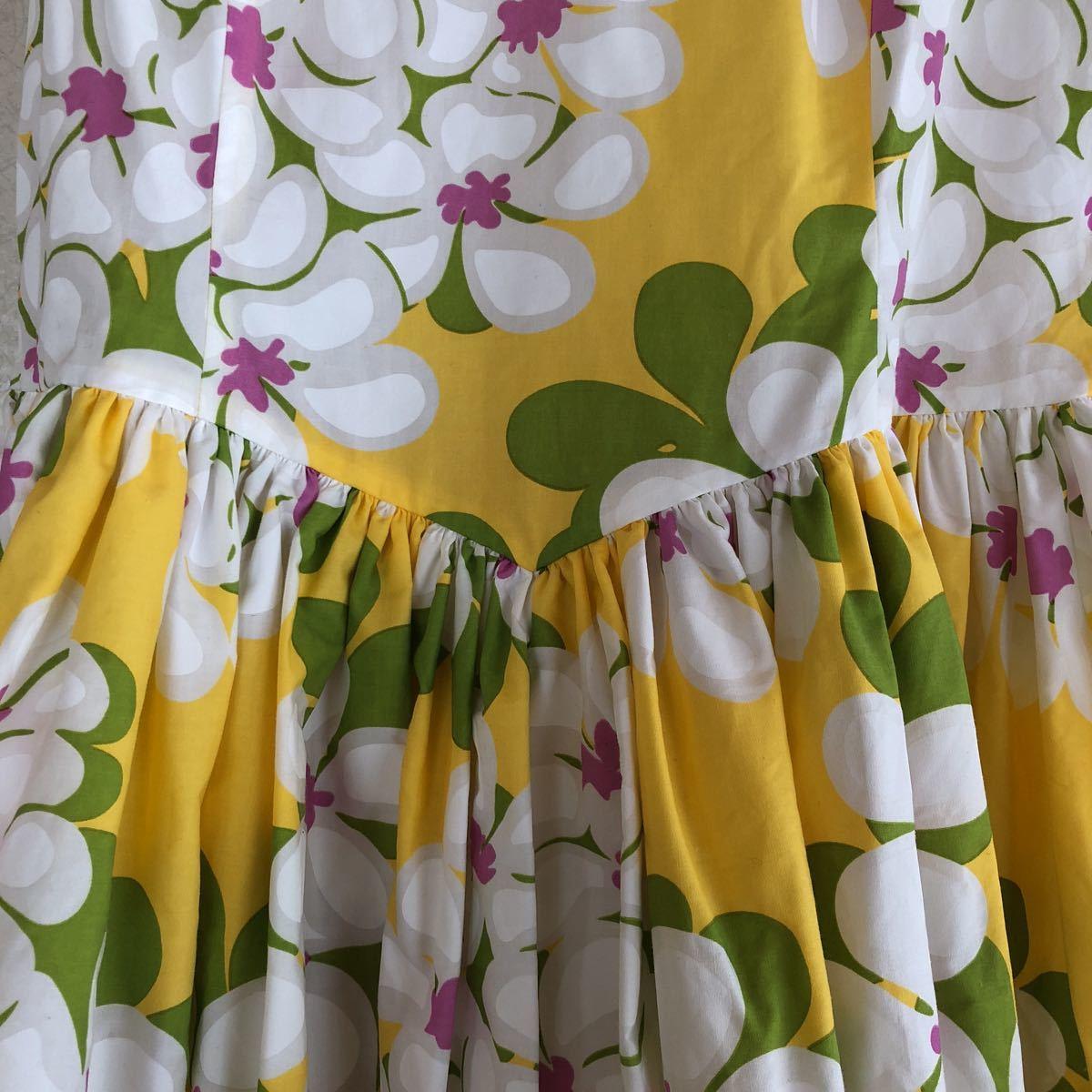 メネフネプランテーション フラダンス フラ ハワイアン ワンピース ドレス 黄色 プルメリア アロハ_画像3