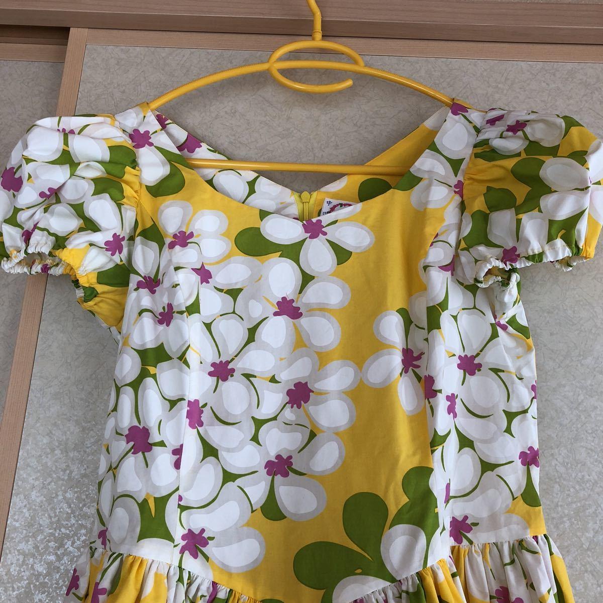 メネフネプランテーション フラダンス フラ ハワイアン ワンピース ドレス 黄色 プルメリア アロハ_画像2