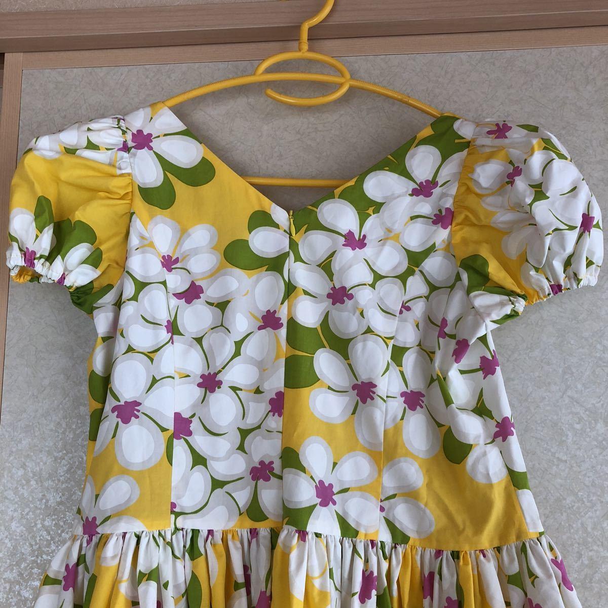 メネフネプランテーション フラダンス フラ ハワイアン ワンピース ドレス 黄色 プルメリア アロハ_画像6