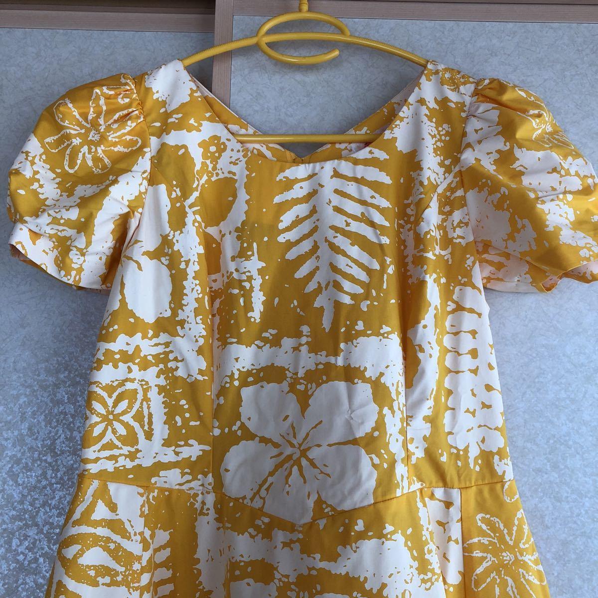 メネフネプランテーション フラ ハワイアン ダンス アロハ ワンピース ドレス 美品 黄色 フレア_画像2
