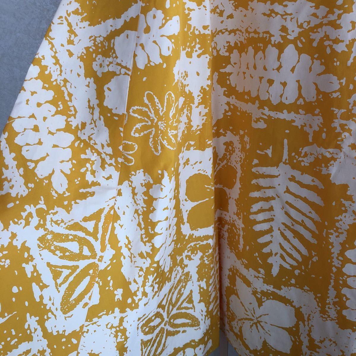 メネフネプランテーション フラ ハワイアン ダンス アロハ ワンピース ドレス 美品 黄色 フレア_画像5