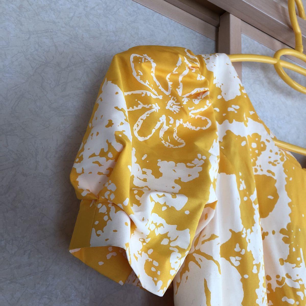 メネフネプランテーション フラ ハワイアン ダンス アロハ ワンピース ドレス 美品 黄色 フレア_画像3