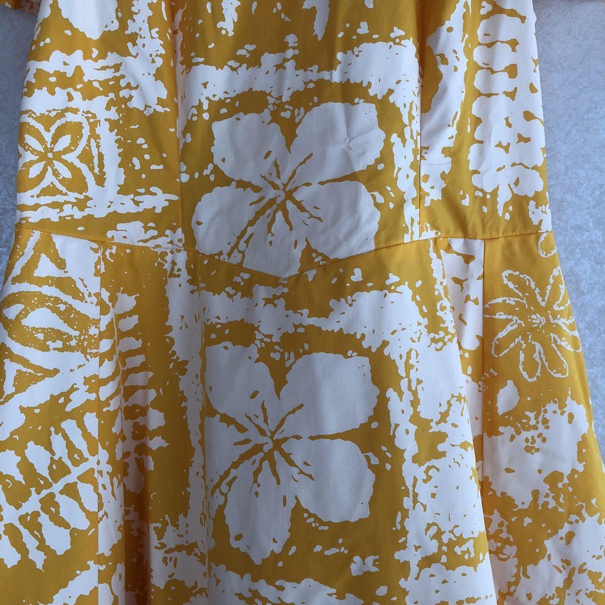 メネフネプランテーション フラ ハワイアン ダンス アロハ ワンピース ドレス 美品 黄色 フレア_画像4