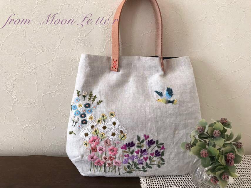 b1b7a928cf8 free shipping * hand made *linen* bird .. flower. hand embroidery ...