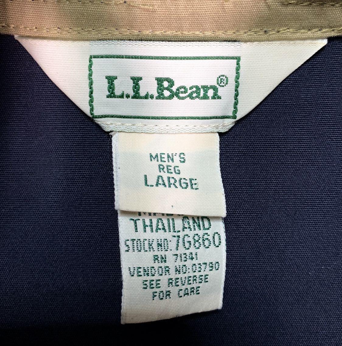 【送料込】90s L.L.Bean アノラック ナイロンジャケット L 紺 ネイビー タイ製 エルエルビーン 70s 80s 00s ビンテージ 古着 オールド_画像4