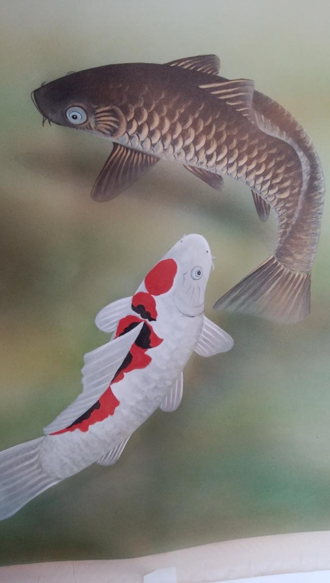 松に二匹鯉(勝利鯉)の絵のみ 送料無料 新品_絹地に鯉二匹