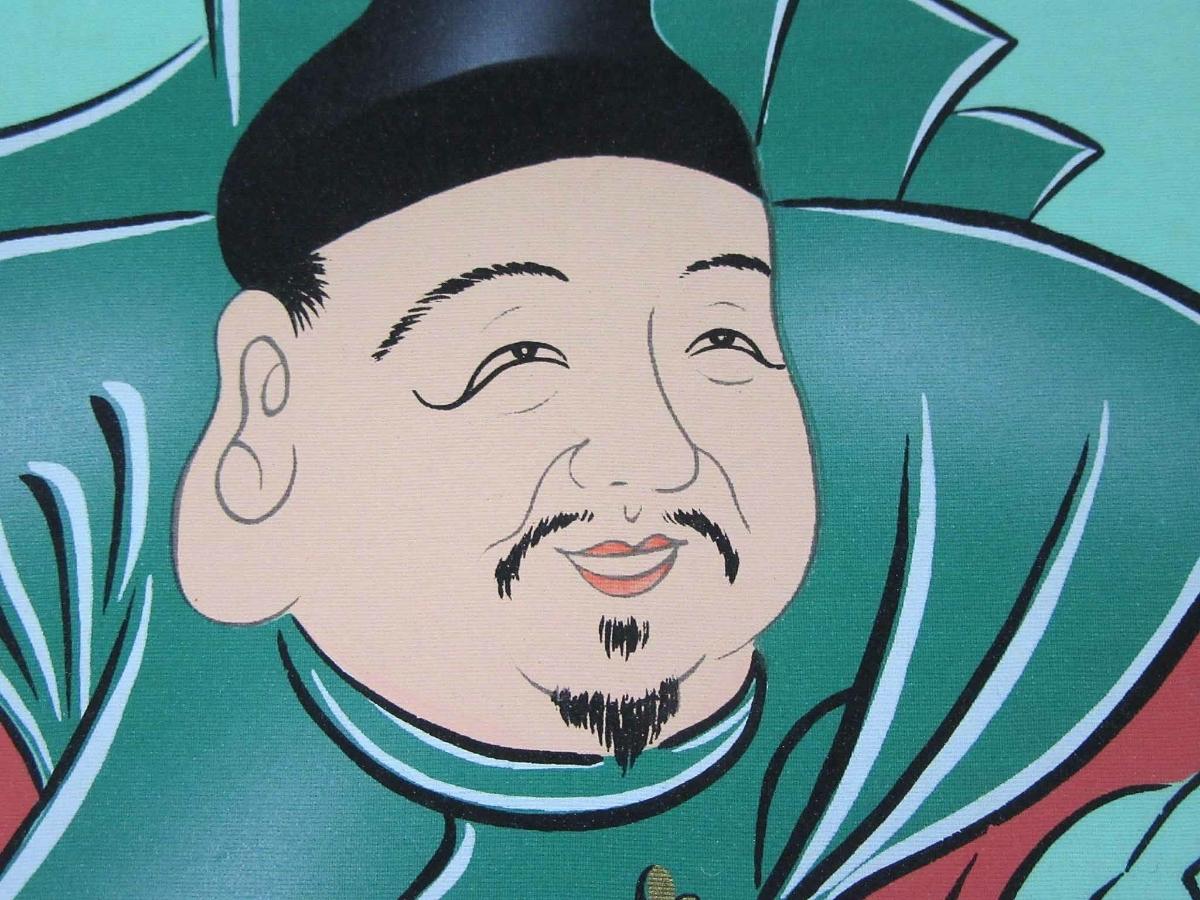 掛軸:「開運縁起之図~一富士二鷹三茄子」華萌筆/190308★_画像7