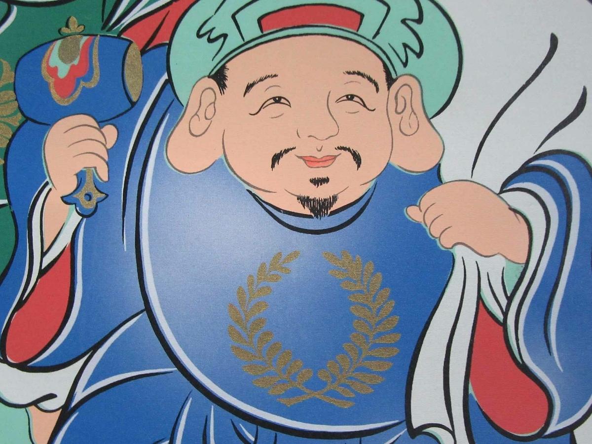 掛軸:「開運縁起之図~一富士二鷹三茄子」華萌筆/190308★_画像6