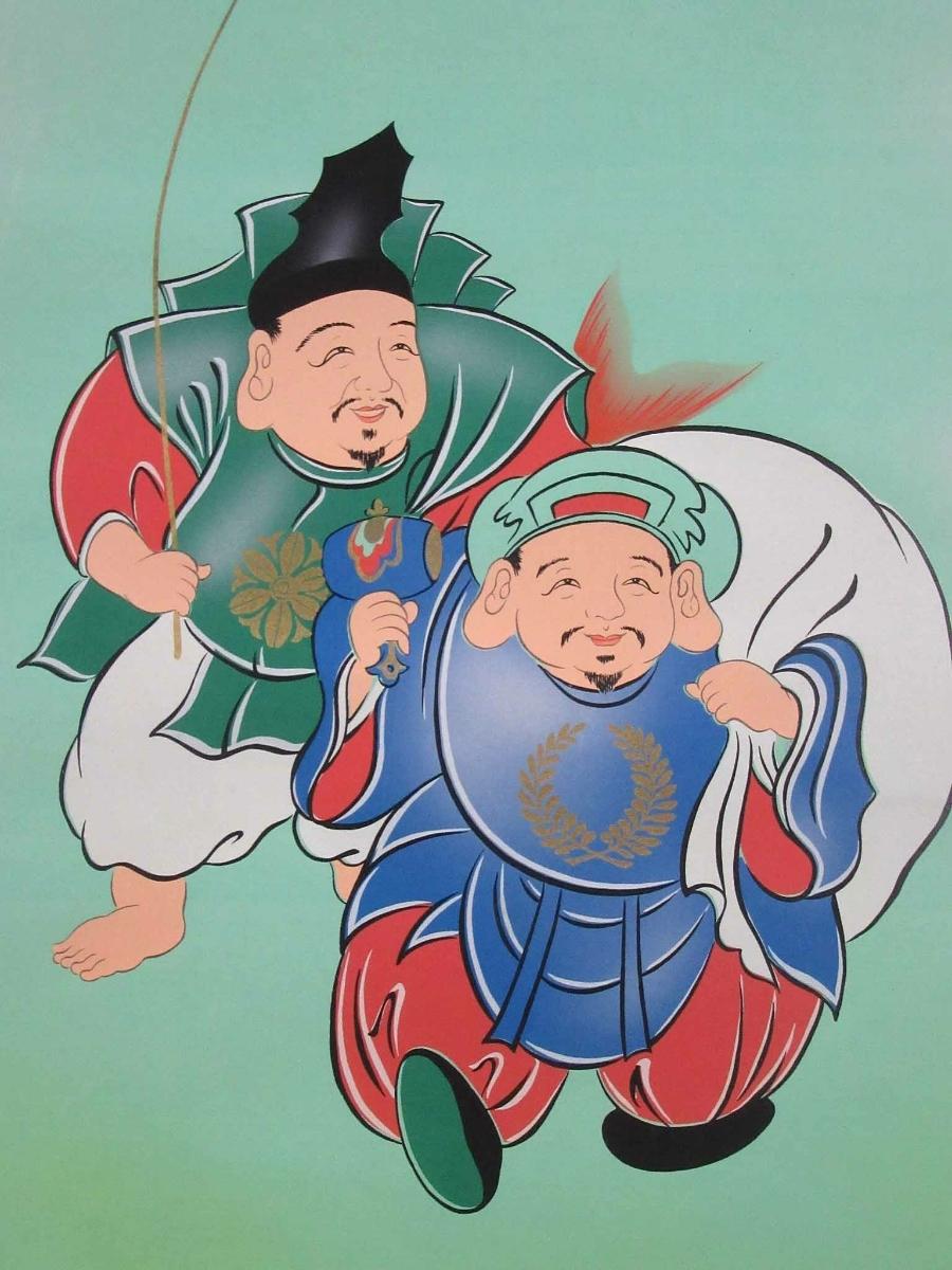 掛軸:「開運縁起之図~一富士二鷹三茄子」華萌筆/190308★_画像5