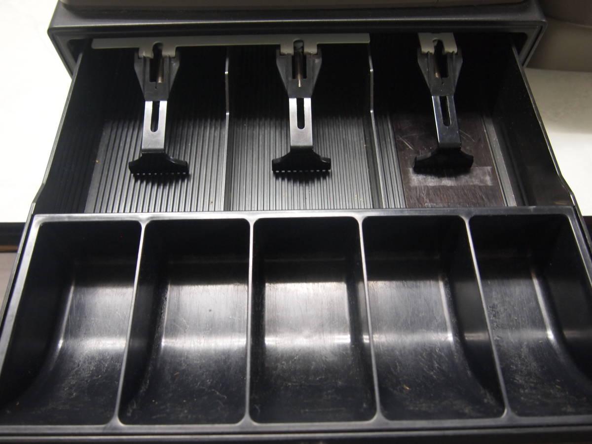 シャープ 普通紙2レシート対応レジスタ「XE-A235S 」 レジ機能OK!ジャンク品(引き出しに不具合あり)_画像4