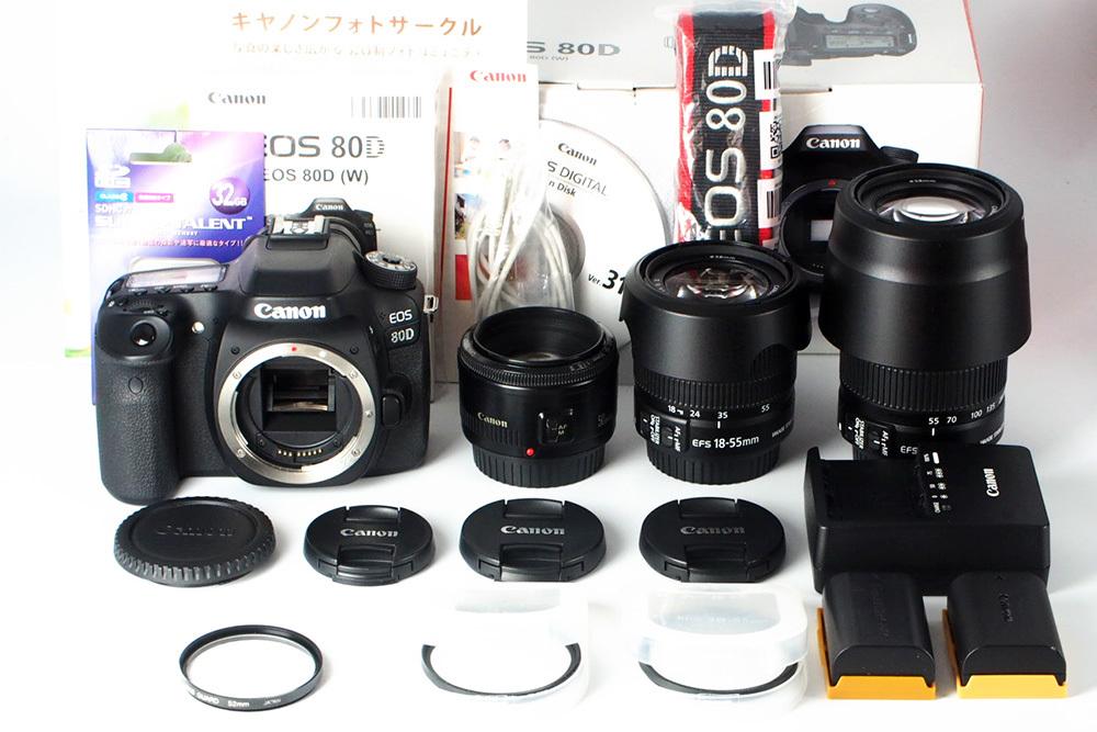 【S数4150回の極上品★完璧付属品プラス豪華セット】Canon キヤノン EOS 80D 標準 望遠 単焦点 トリプルレンズセット=SDカード付で即撮影可