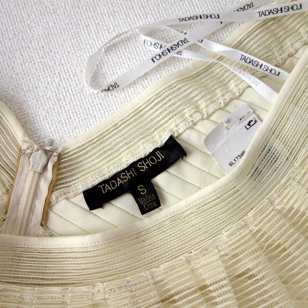 新品タダシショージTadashiShoji S/9号 クリーム色 明るいベージュ フリル ロングドレス ワンピース パーティドレス発表会結婚式65G036_画像9