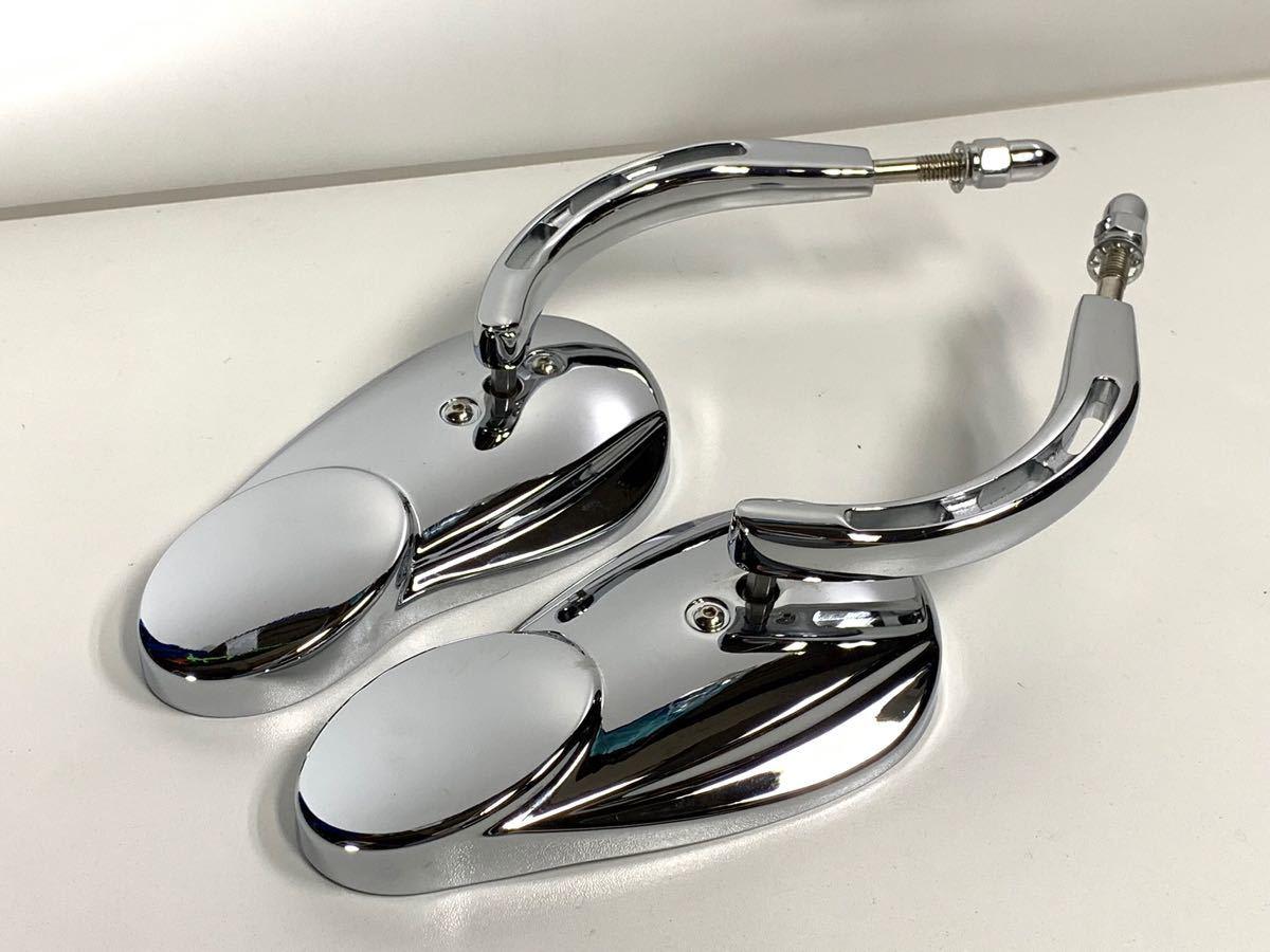 バブルミラー ハーレー用 クローム USミラー ( ツーリング ダイナ ソフテイル ロードキング XL FL FX CVO RSD PM ) 特売 数量限定 無料 4_画像3