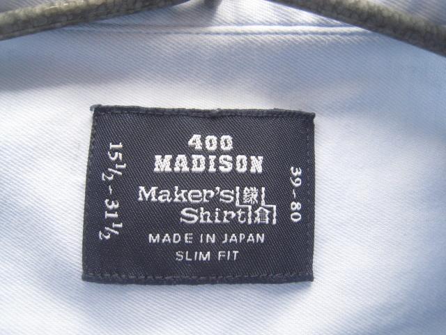 高級!!Maker's Shirt 鎌倉 鎌倉シャツ*400 MADISON SLIM FIT ボタンダウンシャツ 39-80 実寸M_画像8