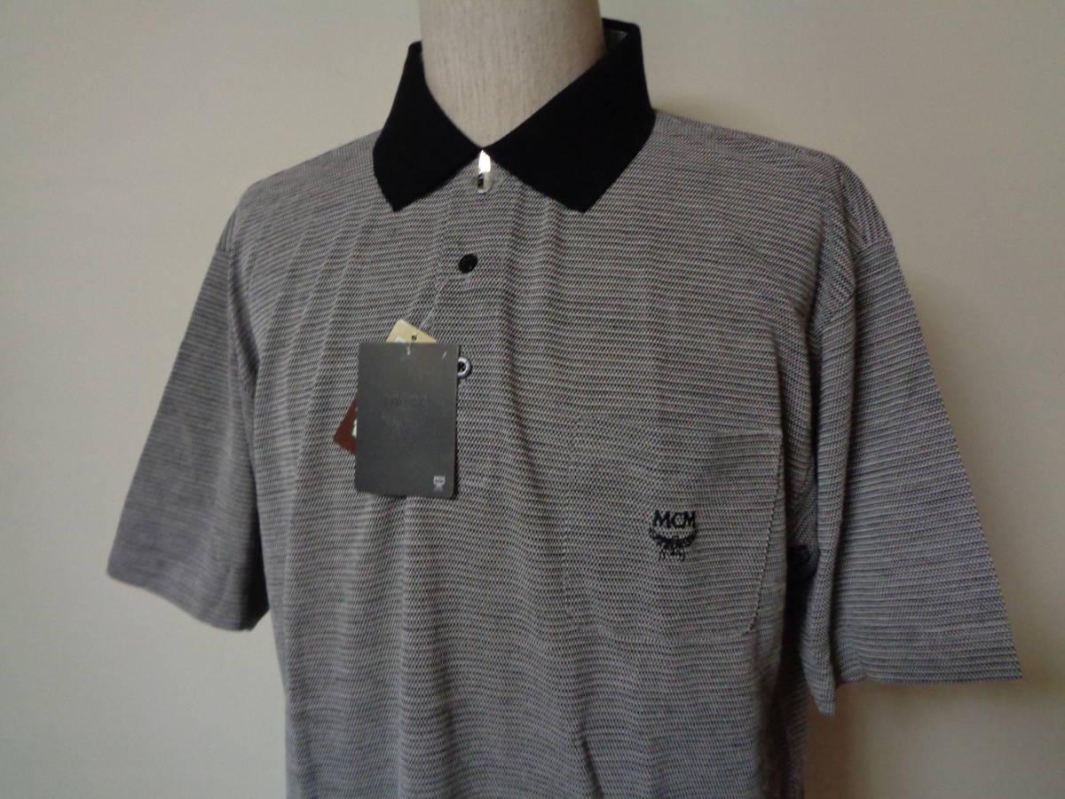 未使用 MCM エムシーエム 日本製 左胸刺繍ロゴ 鹿の子 半袖ポロシャツ L 麻混_画像2