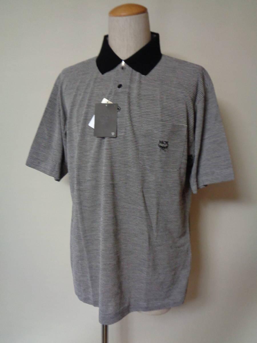 未使用 MCM エムシーエム 日本製 左胸刺繍ロゴ 鹿の子 半袖ポロシャツ L 麻混_画像1