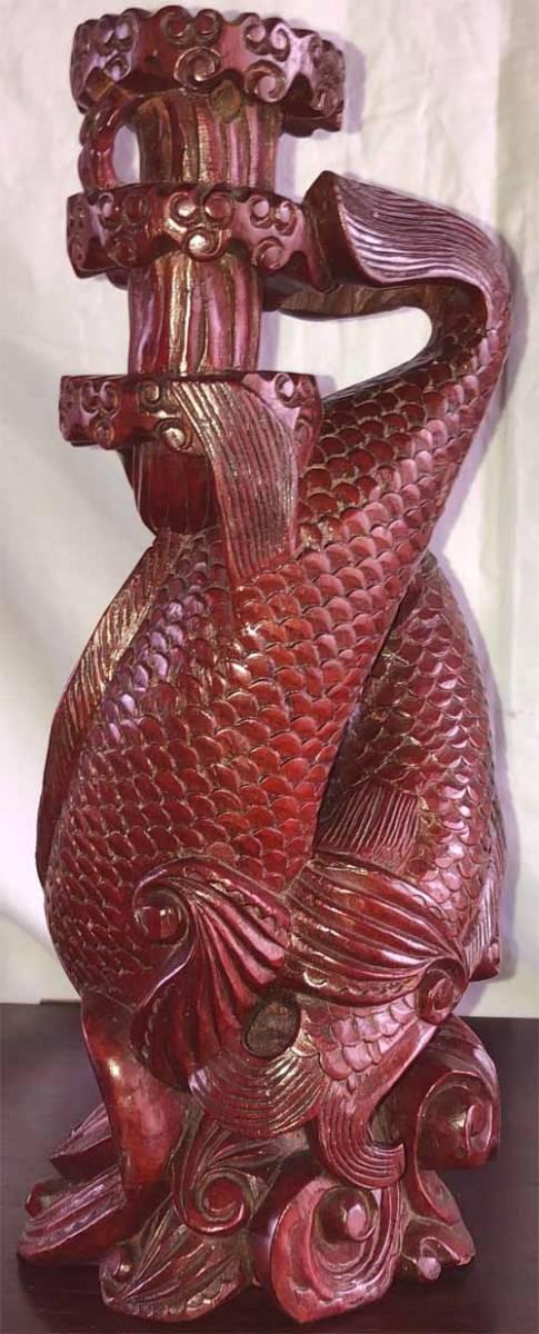 木彫り★彫刻 ☆鯉の滝登り☆ 美術品★骨董品★民芸品 【アンティーク】 _画像3