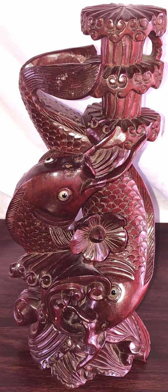木彫り★彫刻 ☆鯉の滝登り☆ 美術品★骨董品★民芸品 【アンティーク】 _画像2