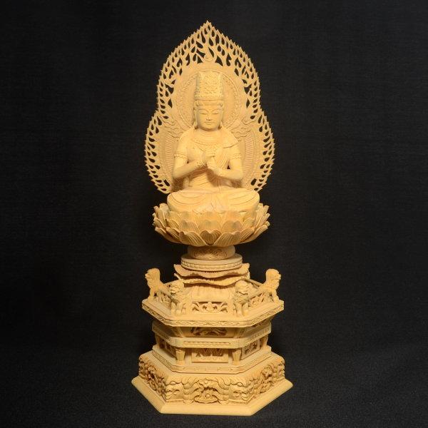木彫 仏像 大日如来像 坐像 2.5寸 入眼 二重火炎光背 柘植 手彫り 仏教美術 黄楊 玉眼 造眼 【a3-2-m3-9】_画像1