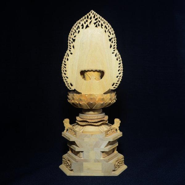 木彫 仏像 大日如来像 坐像 2.5寸 入眼 二重火炎光背 柘植 手彫り 仏教美術 黄楊 玉眼 造眼 【a3-2-m3-9】_画像7