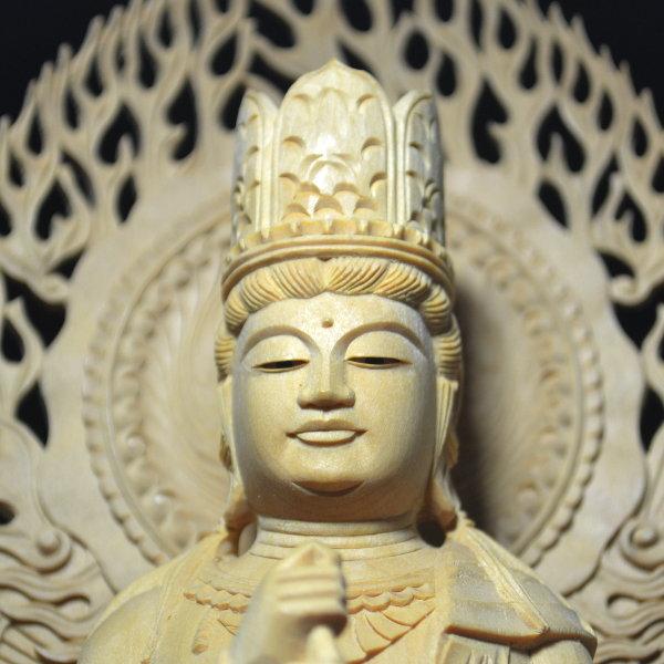 木彫 仏像 大日如来像 坐像 2.5寸 入眼 二重火炎光背 柘植 手彫り 仏教美術 黄楊 玉眼 造眼 【a3-2-m3-9】_画像5