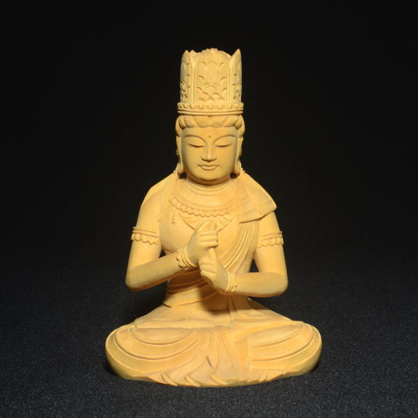 木彫 仏像 大日如来像 坐像 2.5寸 入眼 二重火炎光背 柘植 手彫り 仏教美術 黄楊 玉眼 造眼 【a3-2-m3-9】_画像8