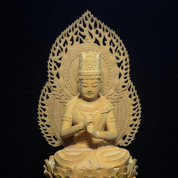 木彫 仏像 大日如来像 坐像 2.5寸 入眼 二重火炎光背 柘植 手彫り 仏教美術 黄楊 玉眼 造眼 【a3-2-m3-9】_画像2