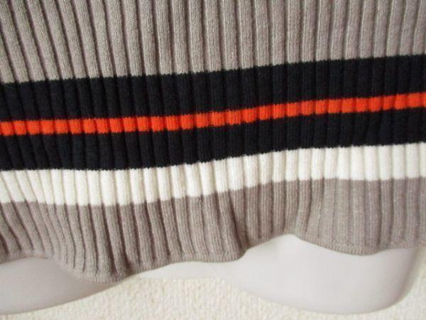 ns185 フレンチ袖リブニット ■ H&M ■エイチアンドエム 配色ボーダー柄 セーター マルチカラー フィット S   _画像5