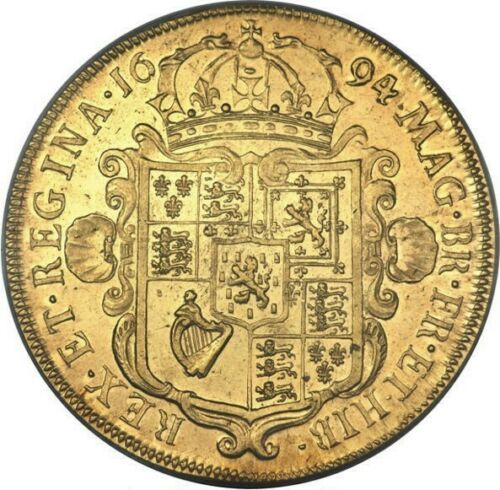 PCGS最高鑑定 1694年 英国 ウィリアム&メアリー5ギニー金貨 PCGS AU58_画像4