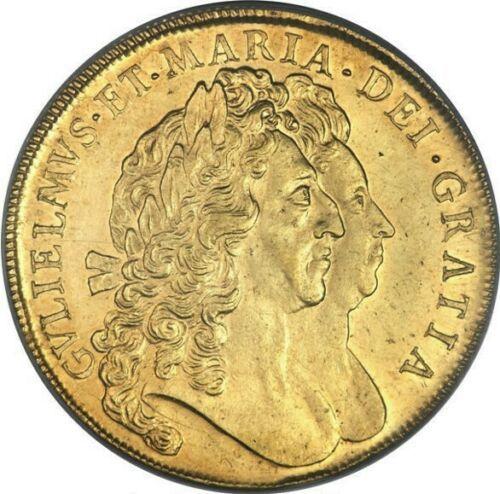 PCGS最高鑑定 1694年 英国 ウィリアム&メアリー5ギニー金貨 PCGS AU58_画像3