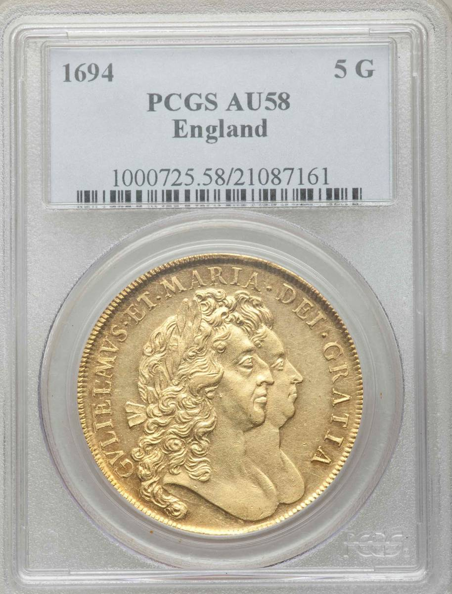 PCGS最高鑑定 1694年 英国 ウィリアム&メアリー5ギニー金貨 PCGS AU58_画像1