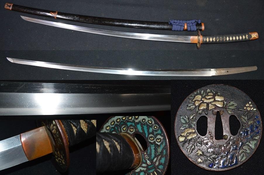 大珍品!大名登録刀・二尺七寸越え!拵え全長125センチの大太刀・最高級七宝大鍔孔雀
