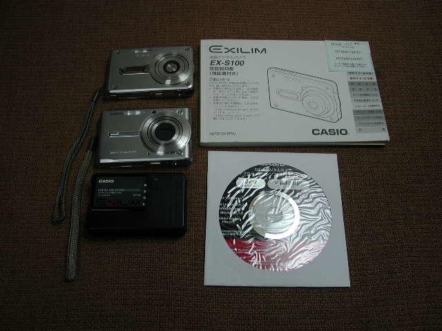 CASIO デジタルカメラ EXILIM CARD EX-S600/EX-S100スパークルーシルバー2台 動作品