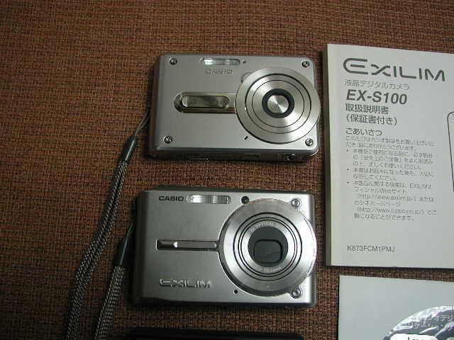 CASIO デジタルカメラ EXILIM CARD EX-S600/EX-S100スパークルーシルバー2台 動作品_画像2