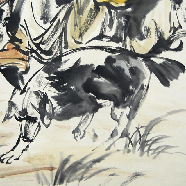 L21802 中国 落款あり 黄胃 作「人物と驢馬」 掛軸 紙本 水彩画 真筆 人物画 世俗画 中国美術_画像6