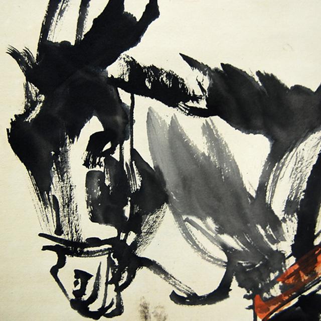 L21802 中国 落款あり 黄胃 作「人物と驢馬」 掛軸 紙本 水彩画 真筆 人物画 世俗画 中国美術_画像5