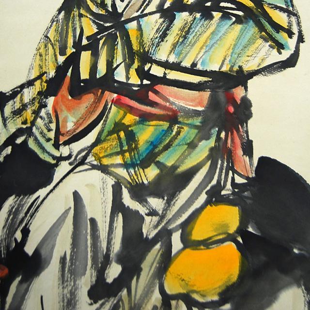 L21802 中国 落款あり 黄胃 作「人物と驢馬」 掛軸 紙本 水彩画 真筆 人物画 世俗画 中国美術_画像7