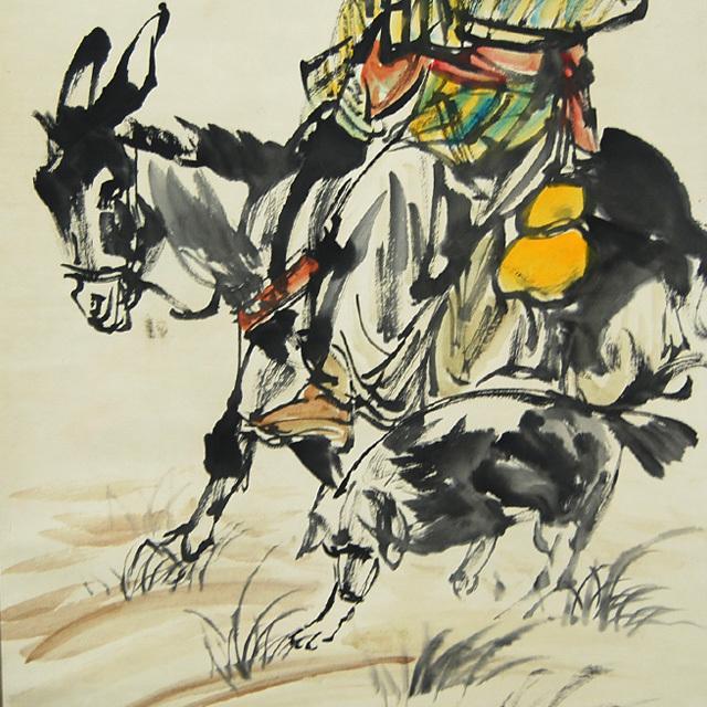 L21802 中国 落款あり 黄胃 作「人物と驢馬」 掛軸 紙本 水彩画 真筆 人物画 世俗画 中国美術_画像3