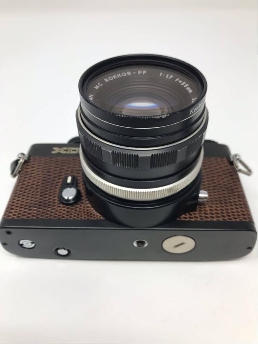 希少! MINOLTA XD ミノルタXD フィルム カメラ 1:1.7f=55mm 2367947 トカゲ革_画像2