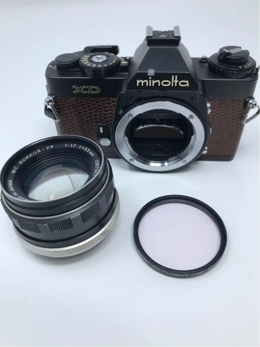 希少! MINOLTA XD ミノルタXD フィルム カメラ 1:1.7f=55mm 2367947 トカゲ革_画像5