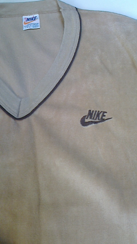 NIKE ナイキ ベロアシャツ キャラメル オレンジスウォッシュ USA製 Mサイズ ビンテージ USED 古着_画像5