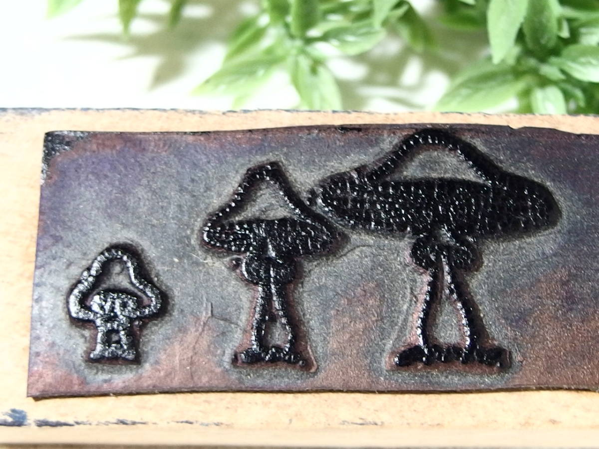 フランスアンティーク スタンプ 茸 キノコ きのこ シャンピニオン 木製 ラバー_画像2