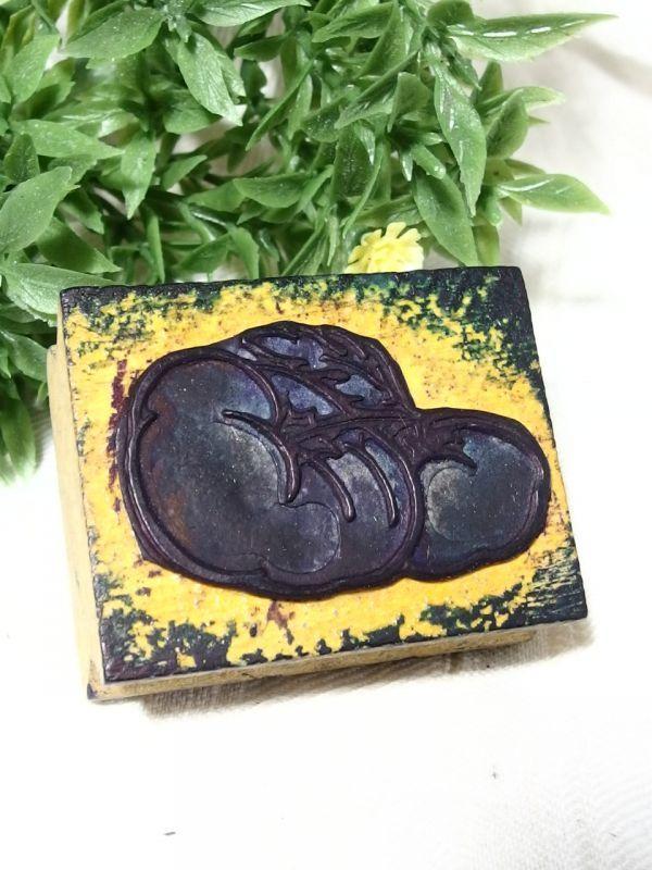 フラワースタンプ フランスアンティーク 花 野菜 トマト  ラバー 木製_画像1