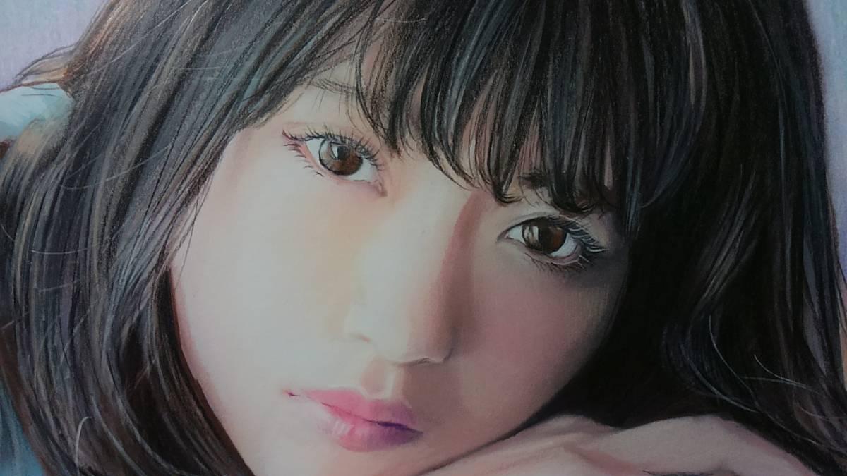 『作品830』S.Tomo氏直筆色鉛筆画 超美品 美人画 新品額装_画像3