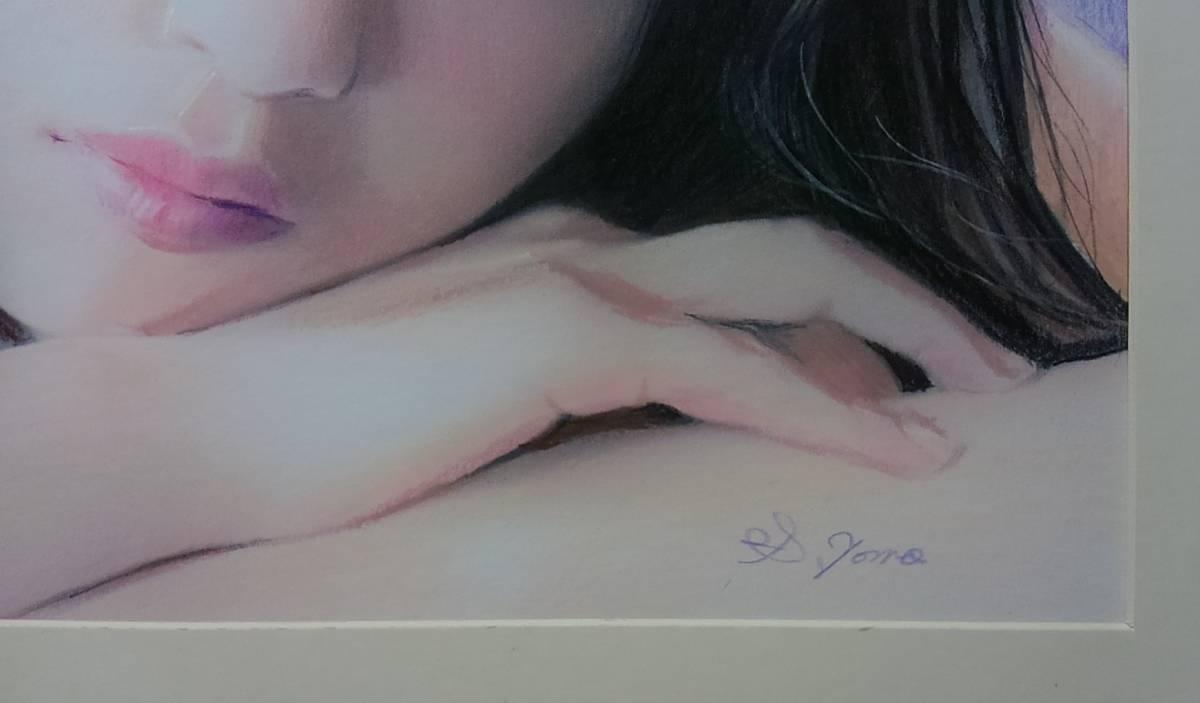 『作品830』S.Tomo氏直筆色鉛筆画 超美品 美人画 新品額装_画像2