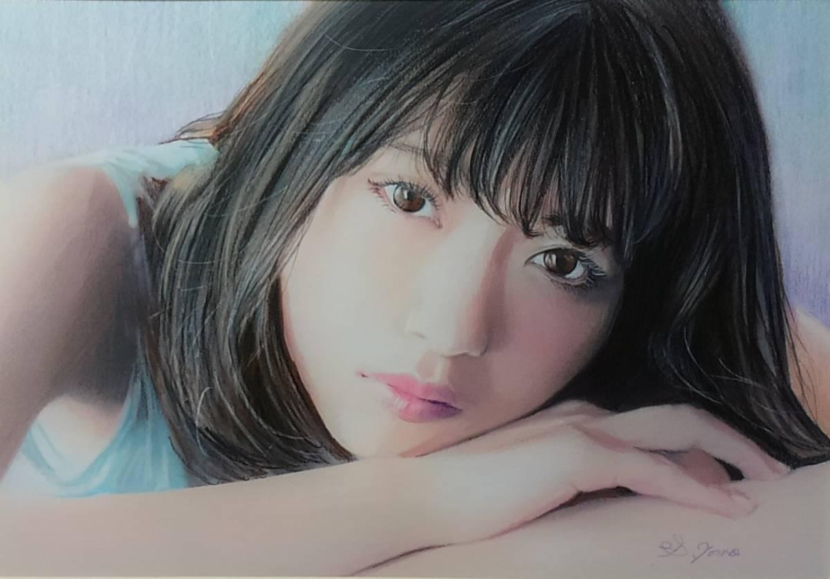『作品830』S.Tomo氏直筆色鉛筆画 超美品 美人画 新品額装