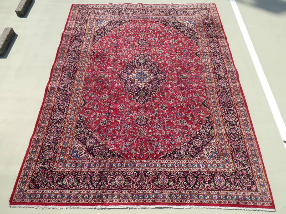 ◆ペルシャ絨毯◆大判◆イラン産◆手織り◆378×290cm ギャッベ アンティーク家具 骨董 古美術 ビンテージ 古道具 マット カーペット