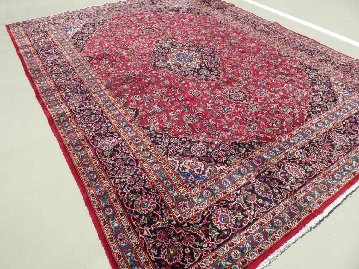 ◆ペルシャ絨毯◆大判◆イラン産◆手織り◆378×290cm ギャッベ アンティーク家具 骨董 古美術 ビンテージ 古道具 マット カーペット_画像2